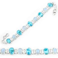 Natural blue larimar moonstone 925 sterling silver tennis bracelet k85996