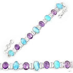 Natural blue larimar amethyst 925 sterling silver tennis bracelet k85997