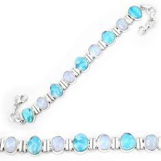 Natural blue larimar moonstone 925 sterling silver tennis bracelet k85998