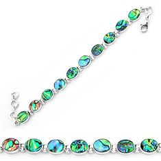 Natural green abalone paua seashell 925 sterling silver tennis bracelet k86482