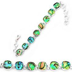 Natural green abalone paua seashell 925 sterling silver tennis bracelet k86483