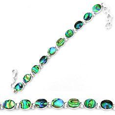 Natural green abalone paua seashell 925 sterling silver tennis bracelet k86485