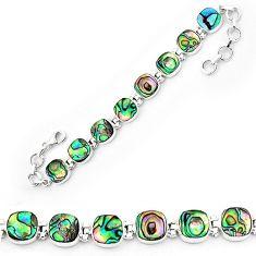 Natural green abalone paua seashell 925 sterling silver tennis bracelet k86488