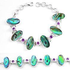 925 silver natural green abalone paua seashell amethyst tennis bracelet k86494