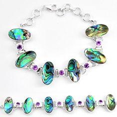 Natural green abalone paua seashell amethyst 925 silver tennis bracelet k86495