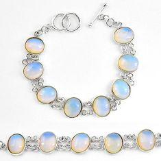 925 sterling silver natural blue opaline oval shape bracelet jewelry k86500