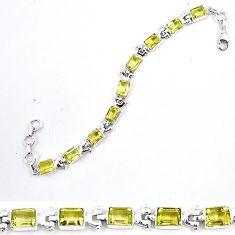 925 sterling silver natural lemon topaz octagan tennis bracelet jewelry k86689