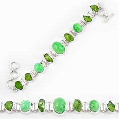 Natural green variscite peridot rough 925 sterling silver bracelet k90542