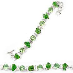 Green chrome diopside rough amethyst 925 sterling silver bracelet k90549
