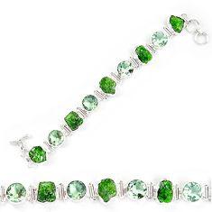 Green chrome diopside rough amethyst 925 silver bracelet jewelry k90554