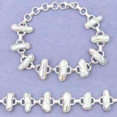 Natural white biwa pearl fancy 925 sterling silver bracelet jewelry k90890