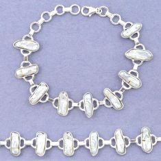 Natural white biwa pearl 925 sterling silver bracelet jewelry k90891