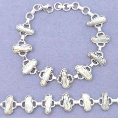 Natural white biwa pearl 925 sterling silver bracelet jewelry k90892