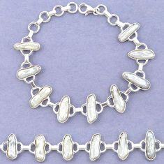 Natural white biwa pearl 925 sterling silver bracelet jewelry k90893