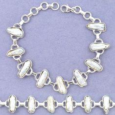925 sterling silver natural white biwa pearl fancy bracelet jewelry k90894