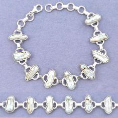 Natural white biwa pearl fancy 925 sterling silver bracelet jewelry k90895