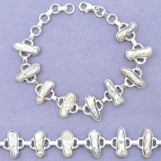 Natural white biwa pearl fancy 925 sterling silver bracelet jewelry k90896