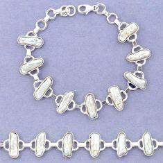 925 sterling silver natural white biwa pearl fancy bracelet jewelry k90897