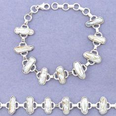 Natural white biwa pearl 925 sterling silver bracelet jewelry k90898