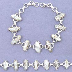 Natural white biwa pearl 925 sterling silver bracelet jewelry k90899
