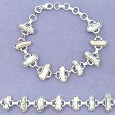925 sterling silver natural white biwa pearl fancy bracelet jewelry k90900