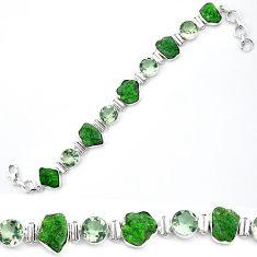 Green chrome diopside rough amethyst 925 silver tennis bracelet jewelry k91181
