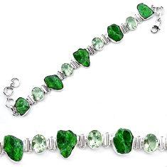 Green chrome diopside rough amethyst 925 sterling silver tennis bracelet k91182