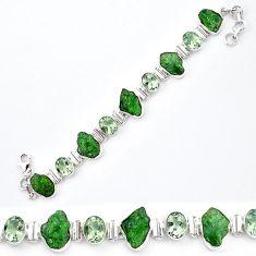Green chrome diopside rough amethyst 925 silver tennis bracelet k91183