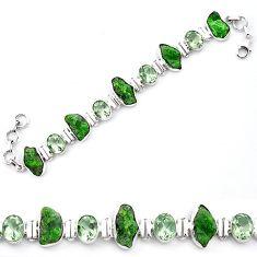 925 silver green chrome diopside rough amethyst tennis bracelet k91184