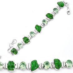 Green chrome diopside rough amethyst 925 silver tennis bracelet k91185