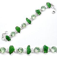 Green chrome diopside rough amethyst 925 silver tennis bracelet k91186