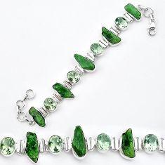 Green chrome diopside rough amethyst 925 silver tennis bracelet k91187