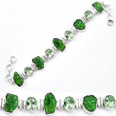 Green chrome diopside rough amethyst 925 silver tennis bracelet k91188