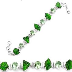 925 silver green chrome diopside rough amethyst tennis bracelet k91189
