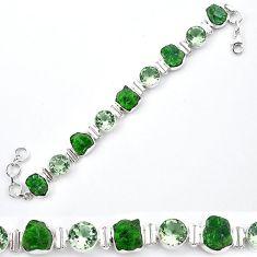 Green chrome diopside rough amethyst 925 silver tennis bracelet k91190