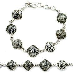 Natural black stingray coral from alaska 925 silver tennis bracelet k91201