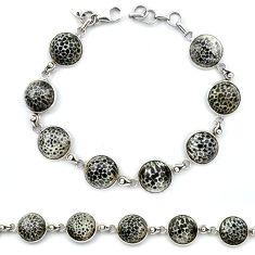 Natural black stingray coral from alaska 925 silver tennis bracelet k91202
