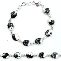 Natural black zebra jasper 925 sterling silver tennis bracelet jewelry k91208
