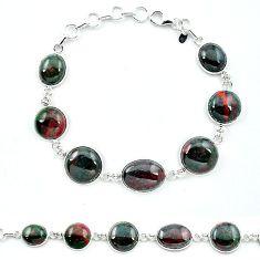 Natural green bloodstone african (heliotrope) 925 silver tennis bracelet k91209