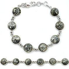 Natural black stingray coral from alaska 925 silver tennis bracelet k91210