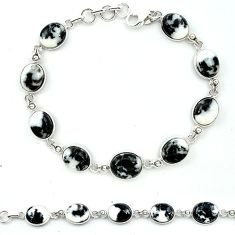 Natural black zebra jasper 925 sterling silver tennis bracelet jewelry k91212