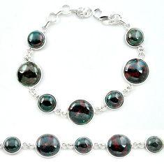 Natural green bloodstone african (heliotrope) 925 silver tennis bracelet k91216