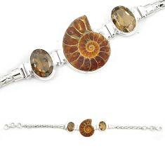 Natural brown ammonite fossil smoky topaz 925 silver bracelet m23182