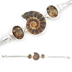 925 silver natural brown ammonite fossil smoky topaz bracelet jewelry m23185
