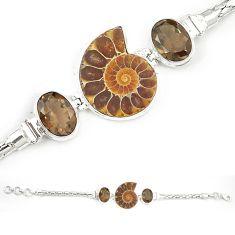 Natural brown ammonite fossil smoky topaz 925 silver bracelet m23186