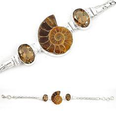 Natural brown ammonite fossil smoky topaz 925 silver bracelet m23188