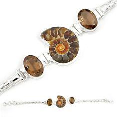 Natural brown ammonite fossil smoky topaz 925 silver bracelet m23190