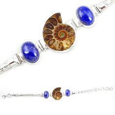 925 silver natural brown ammonite fossil blue lapis lazuli bracelet m23195