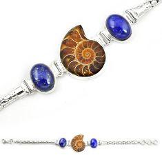 Natural brown ammonite fossil lapis lazuli 925 silver bracelet jewelry m23200