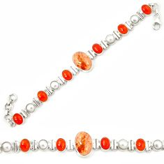 Natural mexican fire opal cornelian (carnelian) 925 silver bracelet m26501